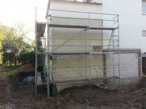 Altbau in Siegburg für diverse Arbeiten Gerüst gebaut